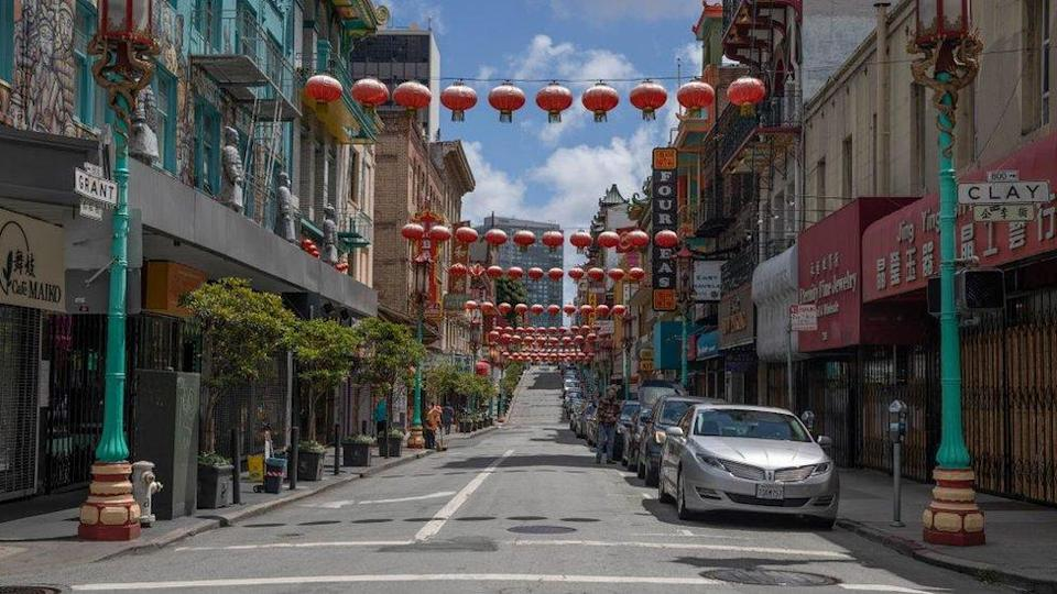 An empty road in San Francisco's Chinatown in May 2020