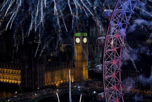 <p>Fireworks light up Big Ben and the London Eye during the New Year celebrations in central London on January 1, 2013. World cities from Sydney and Hong Kong to Dubai and London rang in the New Year with spectacular fireworks, as revelers at Times Square in New York sought to top off the global extravaganza</p>