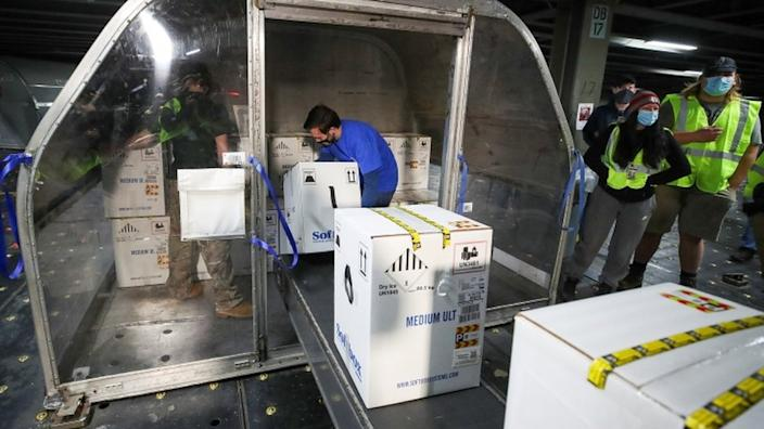 Boxes containing Pfizer's vaccine are unloaded from air shipping containers at UPS Worldport, in Louisville, Kentucky