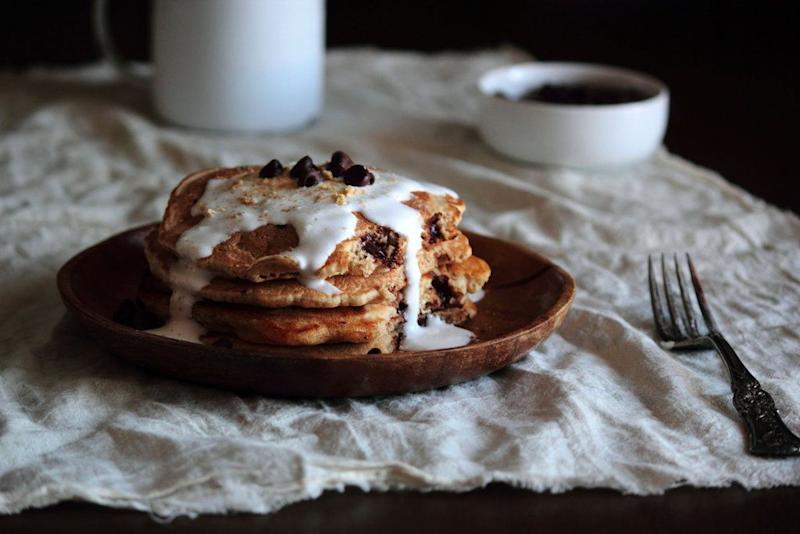 """<strong>Get the <a href=""""http://www.pastryaffair.com/blog/smores-pancakes.html"""" target=""""_blank"""">S'mores Pancakes recipe</a> from Pastry Affair</strong>"""