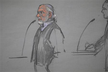"A courtroom artist's sketch shows Sean McGonagle, son of murder victim Paul McGonagle, speaking during the sentencing hearing for convicted mobster James ""Whitey"" Bulger in Boston, Massachusetts November 13, 2013. REUTERS/Jane Collins"
