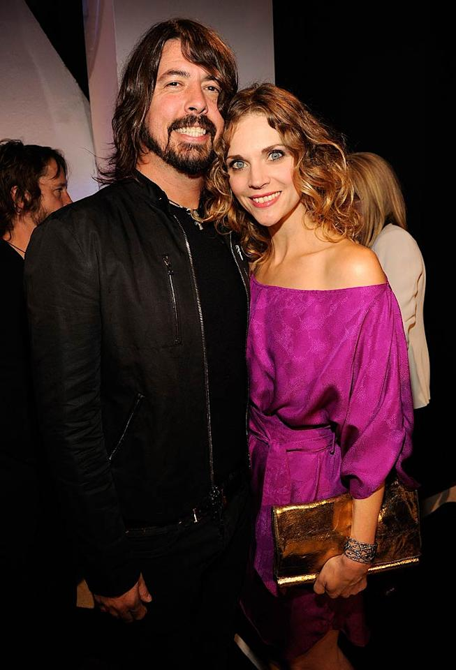 "Dave Grohl -- who along with his Foo Fighters won Best Rock Video for ""Walk"" -- cozied up to his wife, Jordyn Blum, backstage. Kevin Mazur/<a href=""http://www.wireimage.com"" target=""new"">WireImage.com</a> - August 28, 2011"