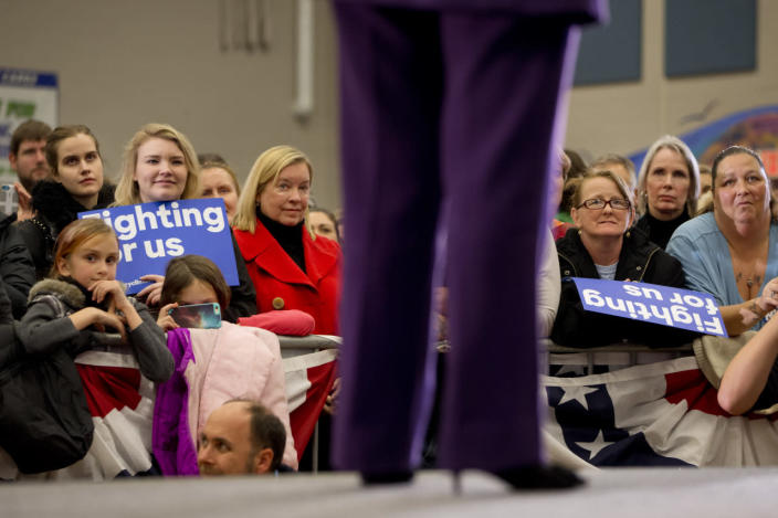 <p>Supporters of Democratic presidential candidate Hillary Clinton listen as she speaks in Hampton, Tuesday, Feb. 2, 2016, her first day in New Hampshire after winning the Iowa caucuses. <i>(Photo: Jacquelyn Martin/AP)</i></p>
