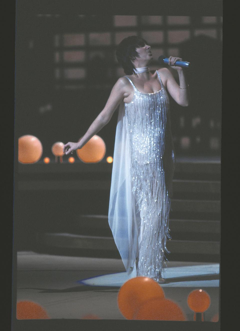 Minnelli rehearses on stage for Night of 100 Stars, 14 February 1982