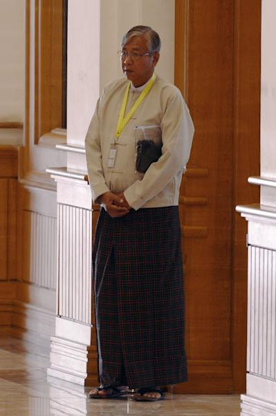 Htin Kyaw, a trusted confidante and anointed proxy of Myanmar democracy icon Aung San Suu Kyi arrives at the parliament on March 15, 2016 (AFP Photo/Romeo Gacad)