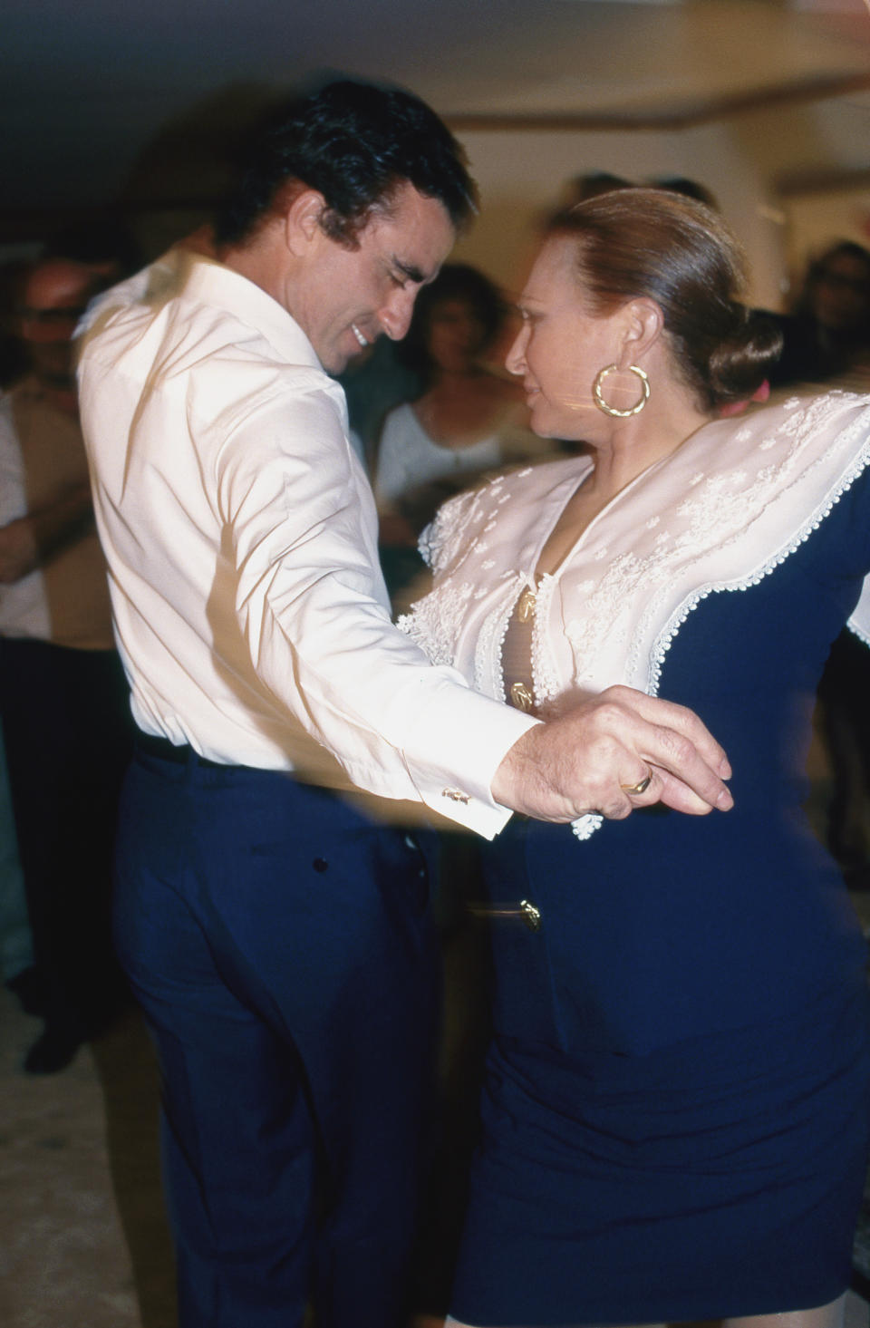 Spanish bullfighter Jiose Ortega Cano dancing with his wife Spanish actress and singer Rocio Jurado, Madrid, Spain, 1994. (Photo by Gianni Ferrari/Cover/Getty Images)