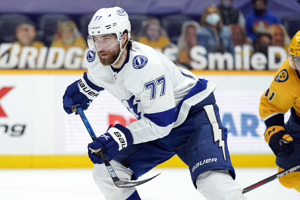 FILE - In this April 10, 2021, file photo, Tampa Bay Lightning defenseman Victor Hedman (77) skates against the Nashville Predators in the second period of an NHL hockey game in Nashville, Tenn. (AP Photo/Mark Humphrey, File)