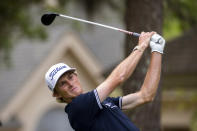 Will Zalatoris watches his drive down the eighth fairway during the first round of the RBC Heritage golf tournament in Hilton Head Island, S.C., Thursday, April 15, 2021. (AP Photo/Stephen B. Morton)