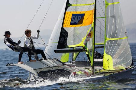 German Olympic team sailors Erik Heil (L) and Thomas Ploessel are pictured during their training session in the 49er class in Rio de Janeiro, Brazil, July 12, 2016. Picture taken on July 12, 2016.  REUTERS/Bruno Kelly