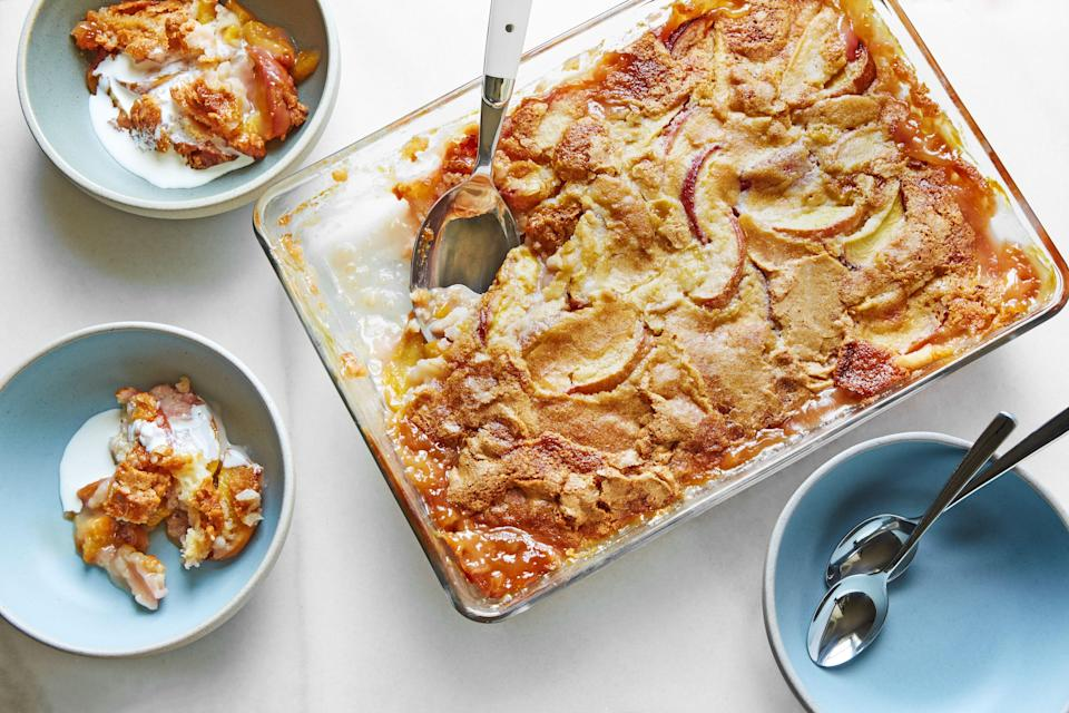 """Hot water is the hero of this approach to making cobbler. The unique method results in a layer of delicate, crackly crust served over juicy summer fruit. It's great with peaches, plums, or whatever summer produce looks best at your farmers market. <a href=""""https://www.epicurious.com/recipes/food/views/peach-cobbler-hot-water?mbid=synd_yahoo_rss"""" rel=""""nofollow noopener"""" target=""""_blank"""" data-ylk=""""slk:See recipe."""" class=""""link rapid-noclick-resp"""">See recipe.</a>"""