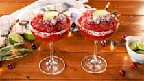 """<p>Want something tarter than lime juice? The cranberry juice in this drink might give you just that.</p><p>Get the recipe from <a href=""""https://www.delish.com/cooking/recipe-ideas/a29727559/frozen-cranberry-margaritas-recipe/"""" rel=""""nofollow noopener"""" target=""""_blank"""" data-ylk=""""slk:Delish"""" class=""""link rapid-noclick-resp"""">Delish</a>.</p>"""