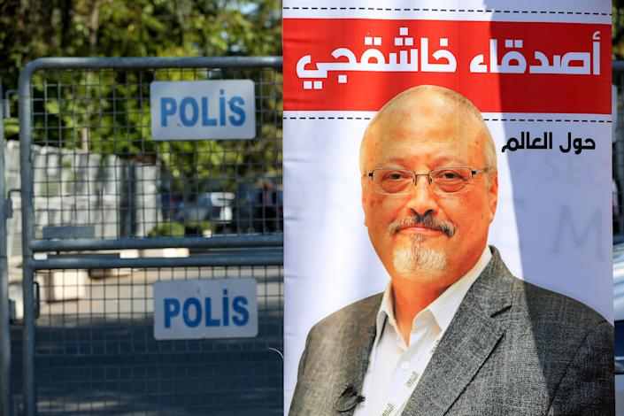 ISTANBUL, TURKEY - OCTOBER 02: A poster of murdered Saudi Arabian journalist Jamal Khashoggi is seen outside the Saudi consulate during a commemoration event marking the second anniversary of his murder in Istanbul, Turkey on October 02, 2020. (Photo by Muhammed Enes Yildirim/Anadolu Agency via Getty Images)