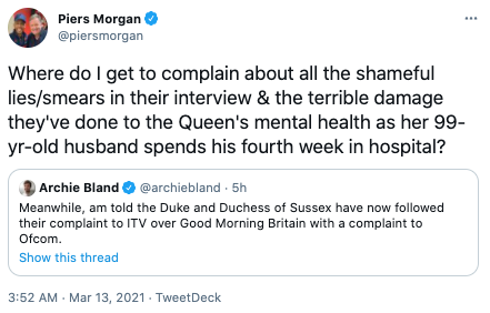 Screenshot of a tweet by Piers Morgan slamming Meghan Markle's decision to complain to Ofcom