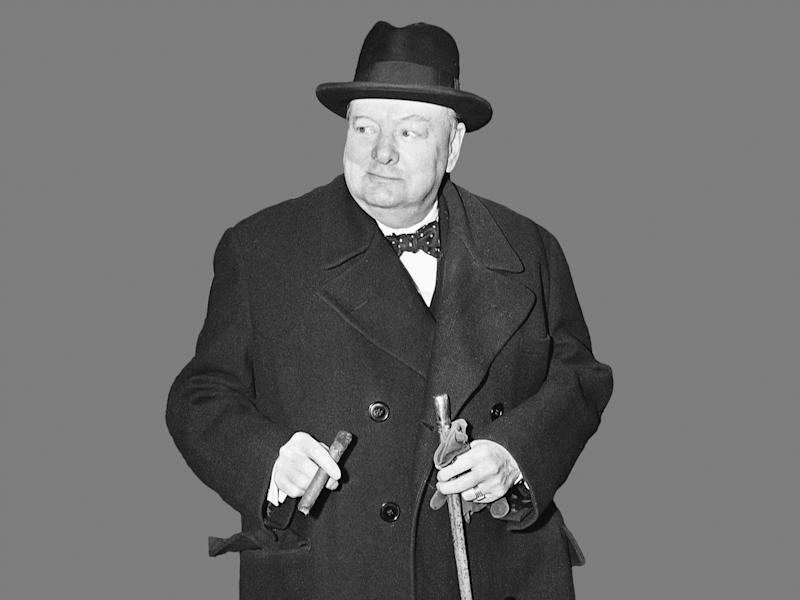 Winston Churchill, former British Prime Minister, B&W graphic on gray