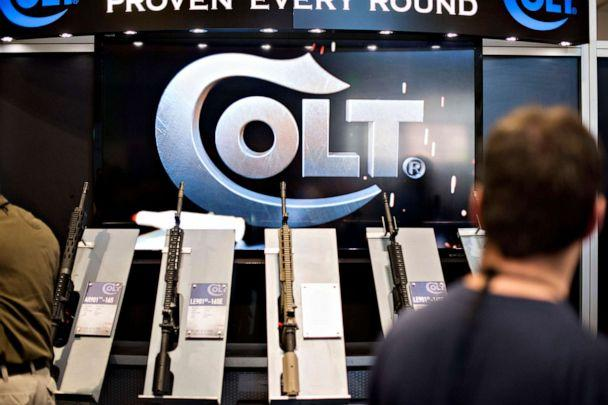 PHOTO:Rifles sit on display in the Colt's Manufacturing Co. booth on the exhibition floor of the 144th National Rifle Association (NRA) Annual Meetings and Exhibits in Nashville, Tenn., April 11, 2015. (Daniel Acker/Bloomberg via Getty Images)