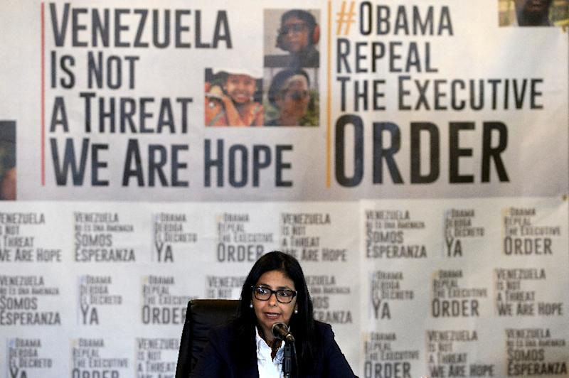 Venezuelan Foreign Minister Delcy Rodriguez speaks during a press conference in Caracas on March 27, 2015, after the United States qualified the situation in Venezuela as a national security threat