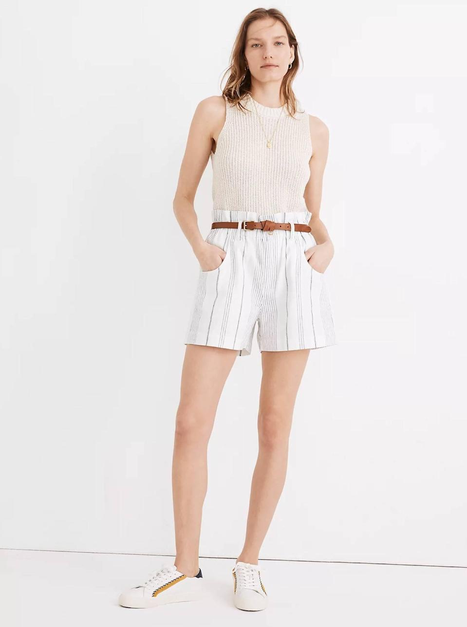 """<a href=""""https://www.glamour.com/about/denim-shorts?mbid=synd_yahoo_rss"""" rel=""""nofollow noopener"""" target=""""_blank"""" data-ylk=""""slk:Denim shorts"""" class=""""link rapid-noclick-resp"""">Denim shorts</a> are a summer must, but so are…nondenim shorts. This striped pair is fun, sophisticated, and comfy all at the same time. $69.5, Madewell. <a href=""""https://www.madewell.com/linen-cotton-pull-on-paperbag-shorts-in-stripe-MD173.html?"""" rel=""""nofollow noopener"""" target=""""_blank"""" data-ylk=""""slk:Get it now!"""" class=""""link rapid-noclick-resp"""">Get it now!</a>"""