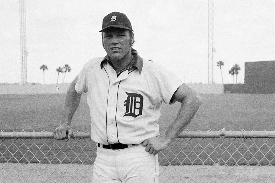 """FILE - This is a 1972 file photo showing Detroitn Tigers baseball player Bill Freehan. Freehan, an 11-time All-Star catcher with the Detroit Tigers and key player on the 1968 World Series championship team, has died at age 79. """"It's with a heavy heart that all of us with the Detroit Tigers extend our condolences to the friends and family of Bill Freehan,"""" the team said Thursday, Aug. 19, 2021. (AP Photo/Preston Stroup, File)"""