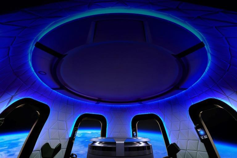 The interior of the Blue Origin crew capsule -- an unnamed bidder has paid $28 million for a seat on board, alongside Jeff Bezos