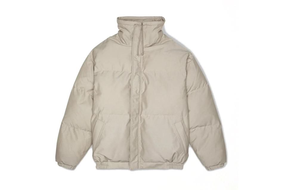 "$255, Mr. Porter. <a href=""https://www.mrporter.com/en-us/mens/product/fear-of-god-essentials/clothing/lightweight-waterproof-jackets/quilted-padded-cotton-and-nylon-blend-jacket/560971904747731"" rel=""nofollow noopener"" target=""_blank"" data-ylk=""slk:Get it now!"" class=""link rapid-noclick-resp"">Get it now!</a>"