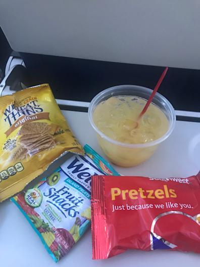 Southwest's in-flight food included coconut rum and some snacks but not much more.