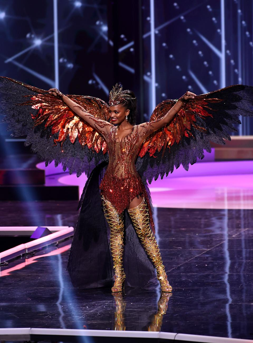 <p>Miss Universe USA Asya Branch appears onstage at the Miss Universe 2021 - National Costume Show at Seminole Hard Rock Hotel & Casino on May 13, 2021 in Hollywood, Florida. (Photo by Rodrigo Varela/Getty Images)</p>