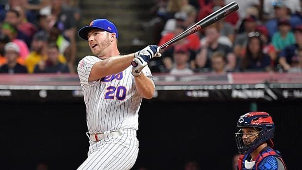 Mets first baseman Pete Alonso is returning to the Home Run Derby Monday night in Colorado in hopes of winning for the second consecutive time. In 2019, he defeated the Blue Jays' Vladimir Guerrero Jr. 23-22 in the final round. (Jason Miller/Getty Images/File - image credit)