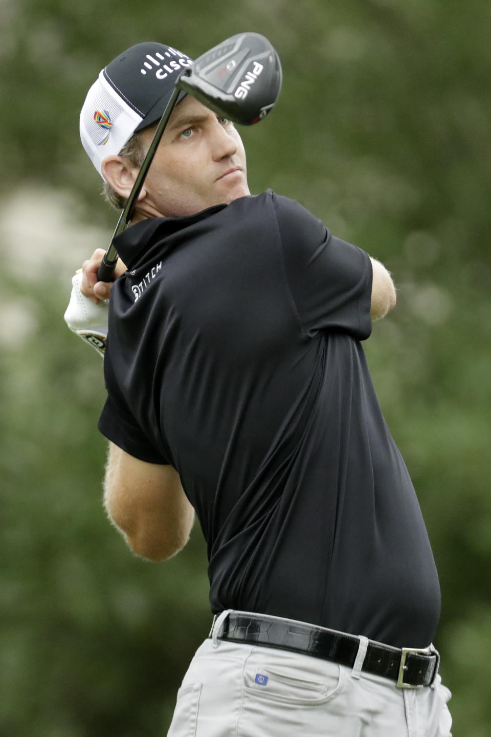 Brendon Todd watches his tee shot on the 18th hole during the third round of the World Golf Championship-FedEx St. Jude Invitational Saturday, Aug. 1, 2020, in Memphis, Tenn. (AP Photo/Mark Humphrey)