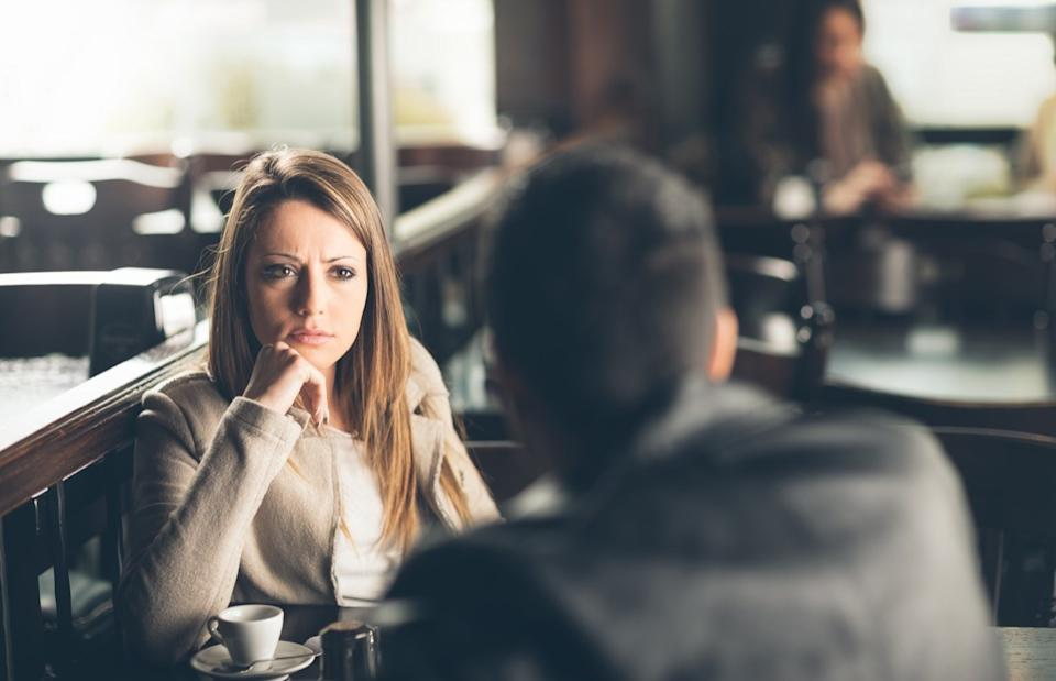 Woman on a date making a judgement