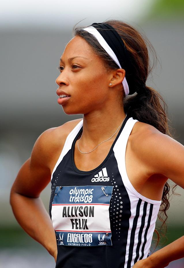 EUGENE, OR - JULY 05: Allyson Felix is pictured after competing in the women's 200 meter semi-finals during day seven of the U.S. Track and Field Olympic Trials at Hayward Field on July 5, 2008 in Eugene, Oregon. (Photo by Matthew Stockman/Getty Images)