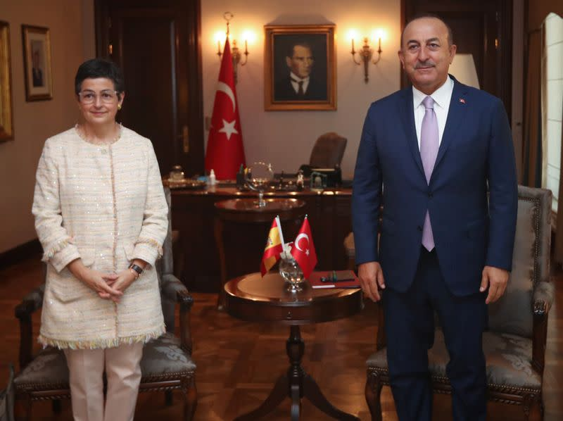 Turkish Foreign Minister Mevlut Cavusoglu meets with his Spanish counterpart Arancha Gonzalez Laya in Ankara