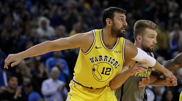 Andrew Bogut (12) made his return to the Golden State Warriors earlier this month. (AP Photo/Ben Margot)
