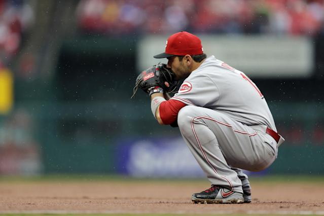 Cincinnati Reds first baseman Joey Votto pauses between pitches during the first inning of a baseball game against the St. Louis Cardinals, Monday, April 7, 2014, in St. Louis. (AP Photo/Jeff Roberson)