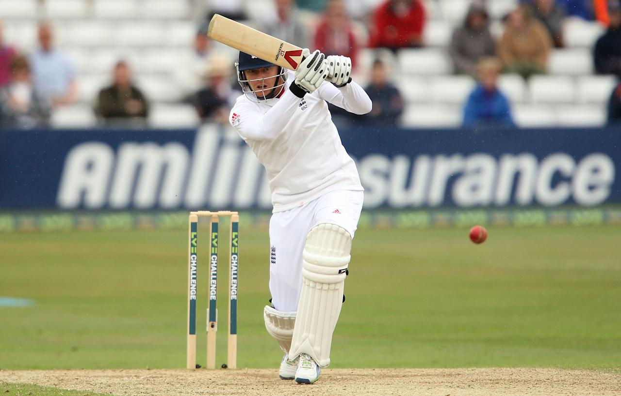 England's Jonny Bairstow bats during day three of the International Warm up match at The County Ground, Chelmsford.