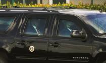 U.S. President Donald Trump is pictured inside of his armoured vehicle while departing his Mar-a-Lago resort in West Palm Beach, Florida