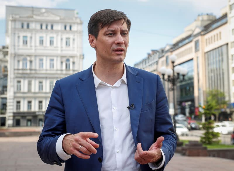 Russian opposition politician Dmitry Gudkov gives an interview in Kyiv