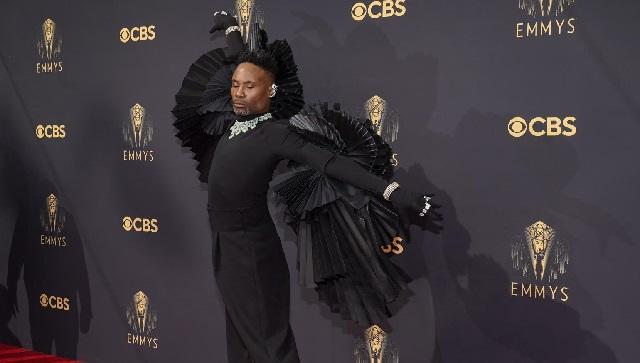 Billy Porter worked large wings on his black trouser look Sunday at the Emmy Awards. (AP Photo/Chris Pizzello)