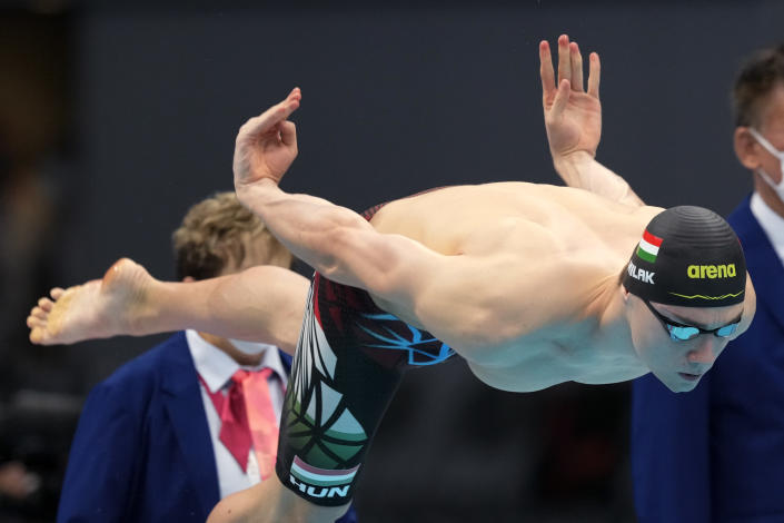 Kristof Milak of Hungary starts in the men's 200-meter butterfly final at the 2020 Summer Olympics, Wednesday, July 28, 2021, in Tokyo, Japan. (AP Photo/Martin Meissner)