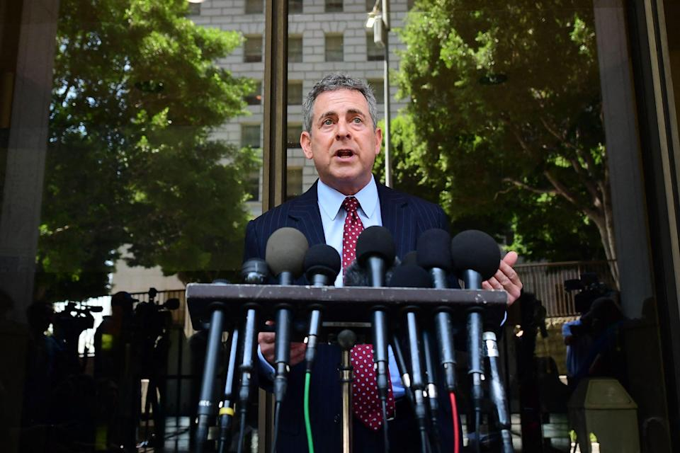 Mark Werksman, attorney for Harvey Weinstein, speaks to the press outside court on July 21, 2021, after Weinstein pleaded not guilty in Los Angeles.