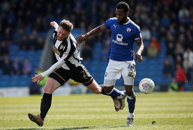 "Soccer Football - League Two - Chesterfield vs Notts County - Proact Stadium, Chesterfield, Britain - March 25, 2018 Notts County's Matt Tootle (L) in action with Chesterfield's Zavon Hines Action Images/Craig Brough EDITORIAL USE ONLY. No use with unauthorized audio, video, data, fixture lists, club/league logos or ""live"" services. Online in-match use limited to 75 images, no video emulation. No use in betting, games or single club/league/player publications. Please contact your account representative for further details."