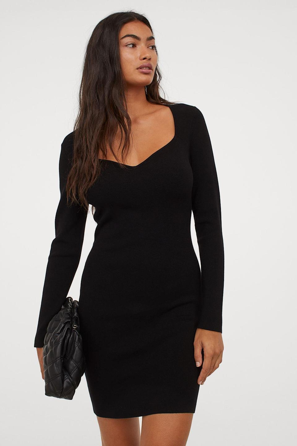 <p>This <span>Sweetheart-neckline Dress</span> ($40) is a reason to get dressed up. It will fit comfortably under a blazer or shirt jacket, so you can throw on an extra layer if you're cold and still look stylish.</p>
