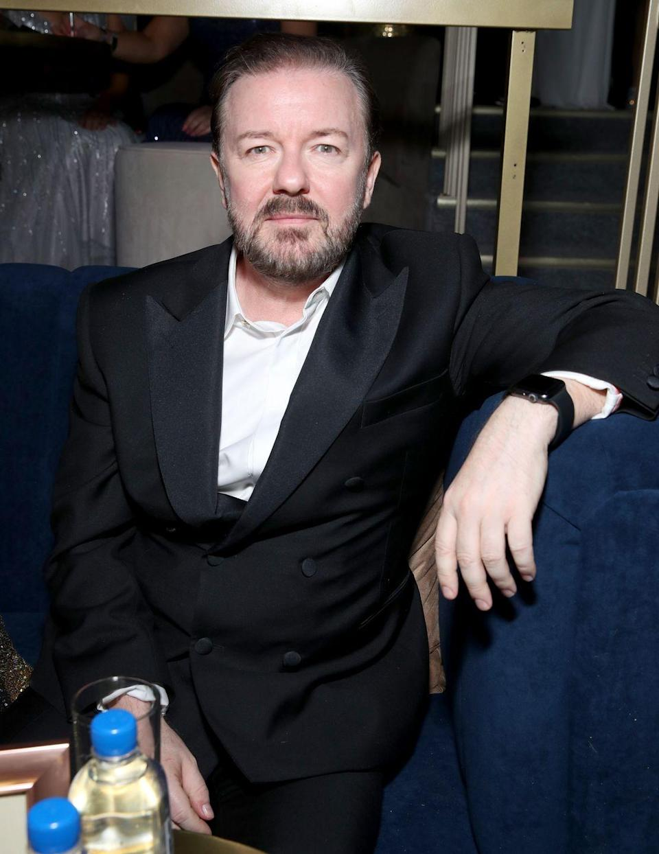 """<p>It was announced that Ricky Gervais would join Kermit and Miss Piggy in 2011's <em>The Muppets</em>, but the actor's scenes were <a href=""""https://www.imdb.com/title/tt1204342/trivia"""" rel=""""nofollow noopener"""" target=""""_blank"""" data-ylk=""""slk:cut from the theatrical version"""" class=""""link rapid-noclick-resp"""">cut from the theatrical version</a>. He wasn't alone: Billy Crystal, Rob Corddry, and Danny Trejo were also edited out of the movie. </p>"""