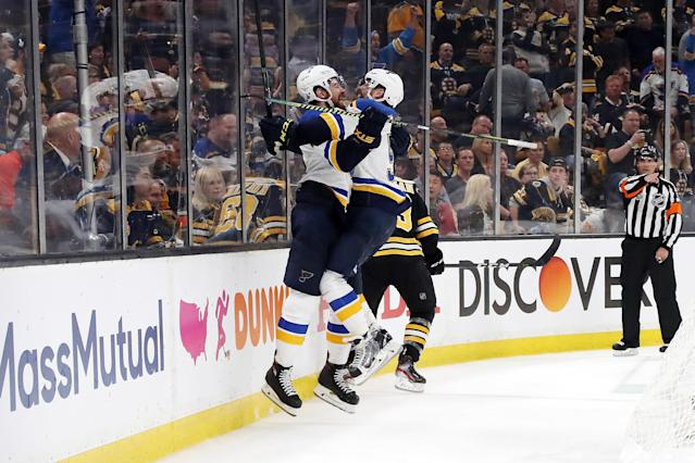 Zach Sanford #12 of the St. Louis Blues is congratulated by his teammate Alex Pietrangelo #27 after scoring a third period goal against the St. Louis Blues in Game Seven of the 2019 NHL Stanley Cup Final at TD Garden on June 12, 2019 in Boston, Massachusetts. (Photo by Bruce Bennett/Getty Images)