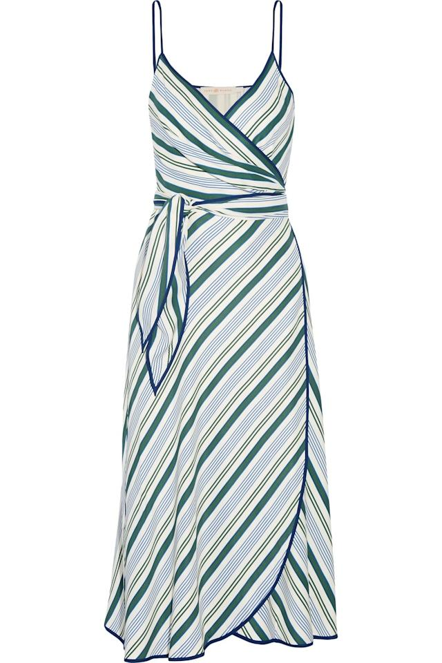 "<p>Tory Burch Wrap Dress, <a rel=""nofollow"" href=""https://www.net-a-porter.com/us/en/product/802948/Tory_Burch/villa-striped-satin-twill-wrap-dress?mbid=synd_yahoolife"">net-a-porter.com</a>, $495</p>"