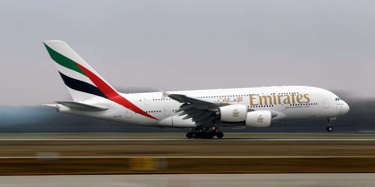 MUNICH, GERMANY - NOVEMBER 25:  The Emirates Airbus A380 registration A6-EDP lands at Munich Airport Franz Joseph Strauss on November 25, 2011 in Munich, Germany. Emirates Airlines has launched a new daily A380 service from Dubai to Munich with its first flight today.  (Photo by Alexander Hassenstein/Getty Images)