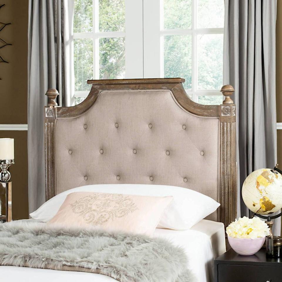 """<p>The antiqued look of this linen headboard (and its low price point) makes it a winner in our book. Tufted fabric color options include taupe or a lighter shade of beige.</p>  <p><b>BUY IT: </b>$195; <a rel=""""nofollow"""" href=""""http://domino.com/safavieh-rustic-wood-tufted-linen-headboard/fox6241bt"""">domino.com</a></p>"""