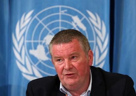 Ryan, Executive Director at the WHO for the Health Emergencies Programme, attends a news conference on Ebola in Geneva