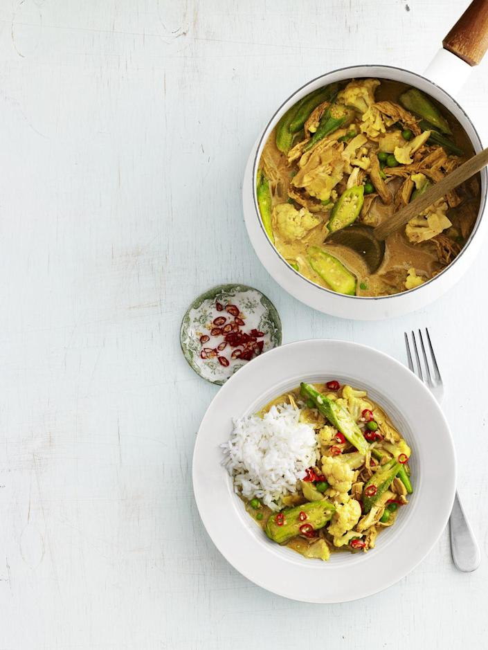 """<p>Lighten up! Substitute 2 tablespoons canola oil for the butter, and opt for light coconut milk, to save 170 calories and 20 grams of fat per serving.</p><p><strong><a href=""""https://www.countryliving.com/food-drinks/recipes/a4219/chicken-okra-curry-recipe-clv0913/"""" rel=""""nofollow noopener"""" target=""""_blank"""" data-ylk=""""slk:Get the recipe"""" class=""""link rapid-noclick-resp"""">Get the recipe</a>.</strong></p>"""