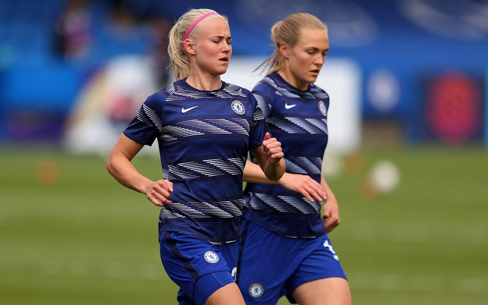 Pernille Harder and Magdalena Eriksson of Chelsea warm up - Getty Images