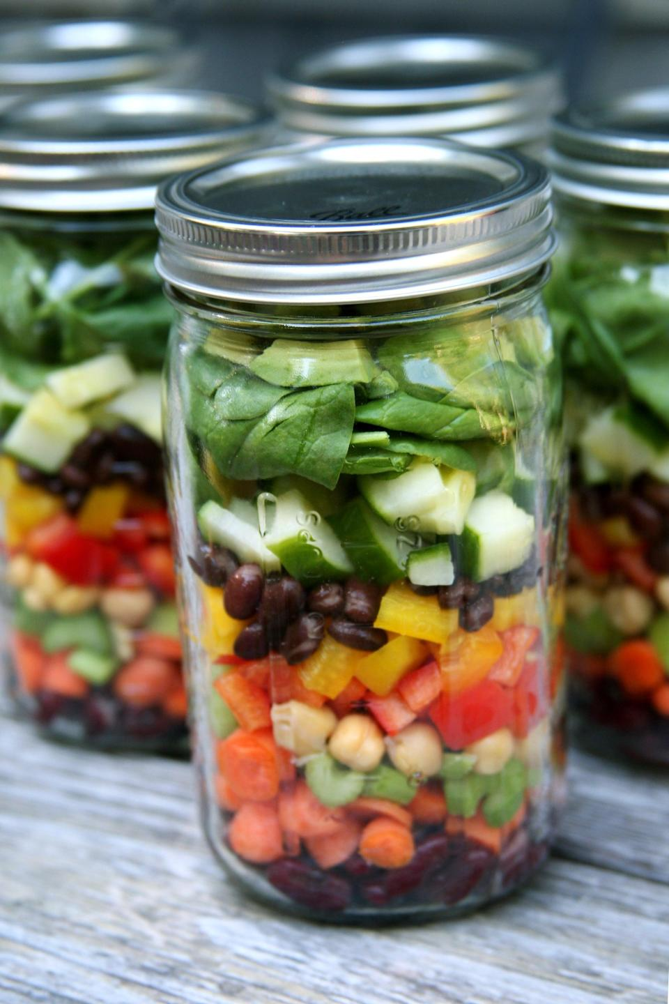 "<p>When you eat one huge salad for a meal each day, you'll not only get your fill of veggies and fiber, but you'll also feel lighter and more energetic afterward. Make this happen by <a href=""https://www.popsugar.com/fitness/How-Pack-Salads-Week-34675868"" class=""link rapid-noclick-resp"" rel=""nofollow noopener"" target=""_blank"" data-ylk=""slk:prepping a week's worth of salads all at once"">prepping a week's worth of salads all at once</a>.</p>"